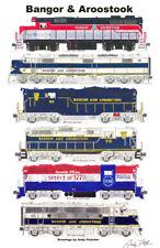 "Bangor & Aroostook Locomotives 11""x17"" Railroad Poster by Andy Fletcher signed"