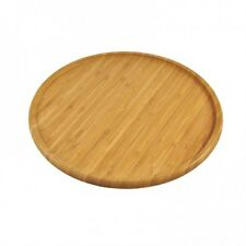 Bamboo Wooden Round Serving Tray Fruit Cheese Platter Board Pizza Plate Recess