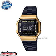 Casio A168WEGB-1B Vintage Watch - Black/Gold
