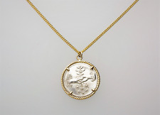 ANTIQUE SILVER & GOLD SWEETHEART PENDANT & CHAIN - VICTORIAN