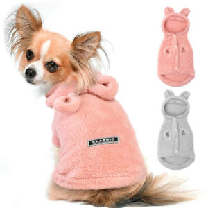 Warm Pet Pajamas Small Medium Dog Cat Clothes Fleece Hoodie Sleepwear Chihuahua