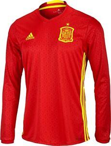 "Genuine Adidas Spain Home Men's Long Sleeve Shirt 2016/17, Size: XXL (50/52"")"
