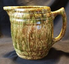 """Vintage Large Stoneware Barrel Pitcher glazed Green and Brown 7.5"""" tall Majolic"""