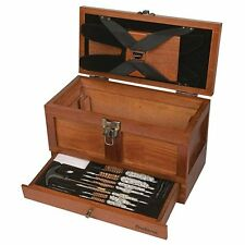 Universal Outers Rifle Pistol Gun Cleaning 25 Piece Tool Kit Wood Chest Clean Gu