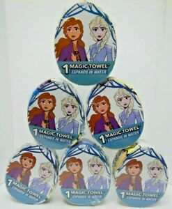 """New LOT of 6 MAGIC TOWELS Disney FROZEN 2 Expands in water Washcloth 11.5""""x11.5"""""""