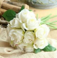 White Artificial 11heads Rose Bouquet Silk Flowers Floral Valentine Ivy Vine