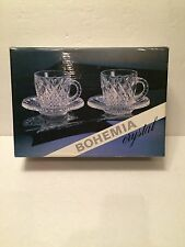 VINTAGE BOHEMIA CRYSTAL SET OF 2 TEA COFFEE CUPS WITH PLATE IN ORIGINAL BOX