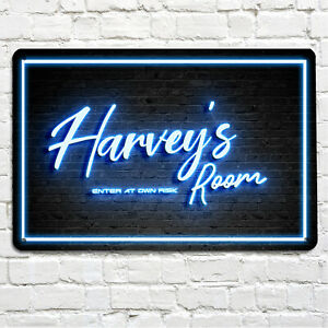 Personalised with any name Kids teenagers Room door sign Blue Neon A4 Metal Sign