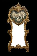 MIRROR CRYSTAL IN WOODEN ALABASTER FRAME GOLD WITH PUTS  #155AM12