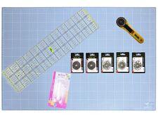 A1 Schneidematte Set inkl. 60 x 15 cm Lineal + Rollschneider + Haltegriff etc.