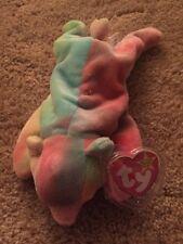 "1999 TY Beanie Baby / Babies ""Sammy"" the Tye Dye Bear Creased Tag"