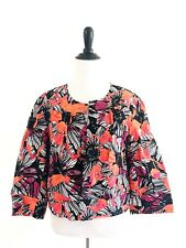Josephine Open Floral Blazer Size 6 Black Linen Cotton Lined Jacket 3/4 Sleeves