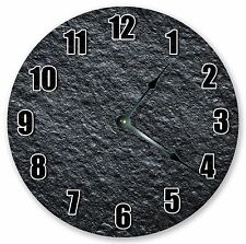 """10.5"""" CHARCOAL ROUGH WALL STONE CLOCK - Large 10.5"""" Wall Clock - Home Décor 3232"""