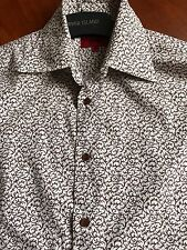 HUGO BOSS MENS BROWN & WHITE PATTERN SHIRT SIZE 38-40 CHEST EXCELLENT