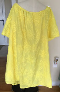 BB Dakota Plus Size 3X Bright Yellow Flower Off Shoulder Short Sleeve Dress NWT