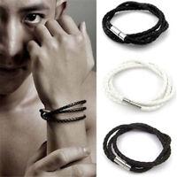 Braided 3 Laps Leather Rope Bracelet Wristband Men Women 66-4
