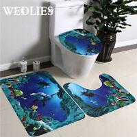 3X Non-Slip Bath Mat Set Bathroom Carpets Toilet Rug Toilet Seat Lid Cover Decor