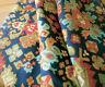 Antique 19thc French Kilim Pattern Cotton Fabric~ Indigo Blue Red Green Caramel
