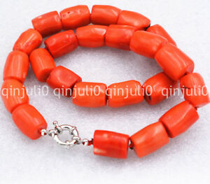 Genuine Natural High Quality Column Orange Coral Gemstone Princess Necklace 18''