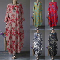 Womens Long Sleeve Floral Printed Casual Loose Cocktail Party Kaftan Maxi Dress