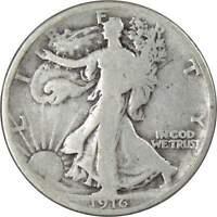 1916 50c Liberty Walking Silver Half Dollar Coin VG Very Good