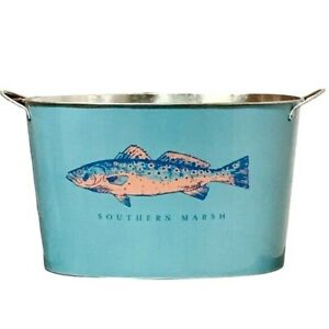 Southern Marsh Turquoise Oblong Metal Container With Fish Graphic & Handles