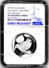 2018 Australia HIGH RELIEF 1oz Silver Kookaburra $1 Coin NGC PF70 +OGP BlueLabel