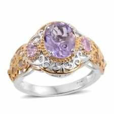 ROSE DE FRANCE AMETHYST SOLITAIRE WITH AMETHYST ACCENT DESIGNER OPENWORK RING 6