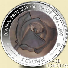 PRINCESS DIANA - 20th Anniversary Death 2017 Silver Proof Mother Pearl Rose Coin
