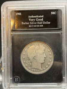 1901 P Barber Silver Half Dollar