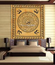 Cotton Ohm Mandala Tapestry Yellow Queen Printed Tie Dye Om Throw Wall Hanging