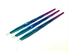 3er Fine Liner Pinsel Set für Nageldesign Nailart Blau-Violett Fineliner