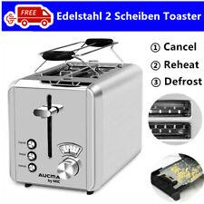 Edelstahl Toaster 2 Scheiben Toastautomat Brötchenaufsatz Aufwärmfunktion 925W