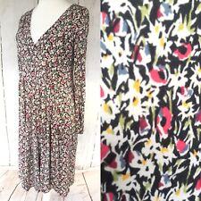 Jigsaw KEW 159 Pink Grey Floral Faux Wrap Jersey Dress Size 12 Empire Line