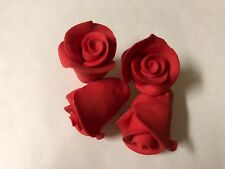 Edible Sugar Flowers 12 Rose Buds Cupcake Decoration Cake Toppers Flowers Red