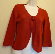 Per Una UK10 EU38 US6 deep red three-quarter sleeve cardigan