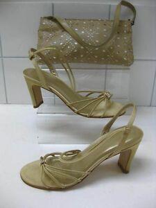 Gold KALIKO sandals shoes handbag UK 5 slingbacks mother of bride wedding prom