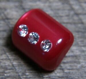 vintage Red Bakelite / Catlin Button  rhinestone embellishment