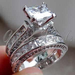 4.84ct Princess cut Diamond Engagement Ring Wedding Band Solid 14k White Gold