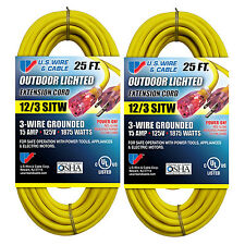 US Wire & Cable 25-FT 12/3 SJTW Heavy Duty Lighted Plug Extension Cord (2-Pack)
