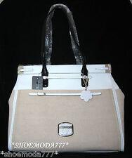 GUESS HUMA Tote Business Bag Purse Handbag Shopper Satchel Flower Charm White