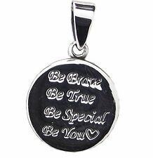 BE BRAVE PENDANT 925 Sterling SILVER 25mm Drop : Inspirational Words