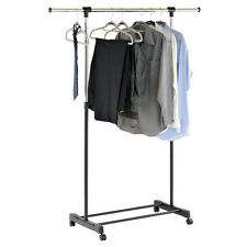STRETCH - Extendable Instant Wardrobe / Hanging Rail - Silver / Black BAHG56