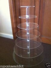 7 TIER CLEAR ACRYLIC ROUND CUPCAKE CUP CAKES WEDDING PARTY STAND