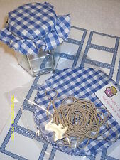 JAM covers blue gingham PACK includes sticky jar labels & bands x 20