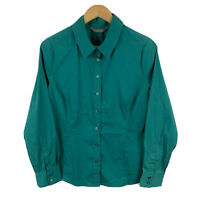 Jacqui E Womens Top Size 12 Green Long Sleeve Button Closure Collared