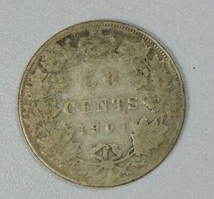 Canada 1901 50 Cents Silver Coin:  Victoria