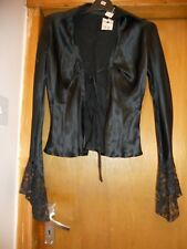 Black silk tie front blouse with lace trim 8 10 gothic glamour top cardigan NWT