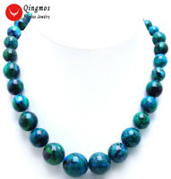"10-20mm Green Round Chrysocolla Chokers Necklace for Women Fine Jewelry 17"" 5315"