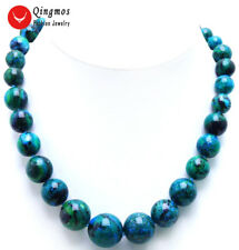 """Trendy 10-20mm Green Round Chrysocolla Chokers Necklace for Women Jewelry 17"""""""